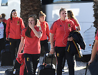 20200310  Lagos , Portugal : Belgian Shari Van Belle (5) and Belgian goalkeeper Justien Odeurs (1) pictured prior to the female football game between the national teams of Belgium called the Red Flames and Denmarkl on the third and last matchday for the 5th or 6th place of the Algarve Cup 2020 , a prestigious friendly womensoccer tournament in Portugal , on tuesday 10 th March 2020 in Lagos , Portugal . PHOTO SPORTPIX.BE | DAVID CATRY