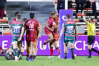 26th September 2020; Toulon, France; European Challenge Cup Rugby, semi-final; RC Toulon versus Leicester Tigers;  Try celebratipons from Sonatane Takulua and Gabin Villiere (RC Toulon)