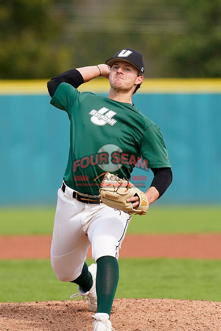 Ben Ferrer (15) of the University of South Carolina Upstate Spartans Green team delivers a pitch in the Green and Black Fall World Series Game 2 on Saturday, October 31, 2020, at Cleveland S. Harley Park in Spartanburg, South Carolina. Green won, 6-5. (Tom Priddy/Four Seam Images)