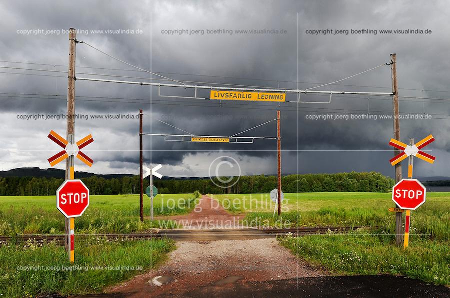 Sweden, railway crossing in Leksand, Siljan Lake