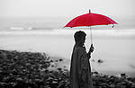 Woman with red umbrella, Ogonquit, ME