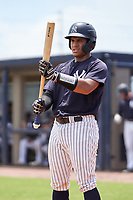 FCL Yankees catcher Agustin Ramirez (38) bats during a game against the FCL Tigers East on July 27, 2021 at the Yankees Minor League Complex in Tampa, Florida. (Mike Janes/Four Seam Images)