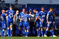 13th September 2020; Portman Road, Ipswich, Suffolk, England, English League One Footballl, Ipswich Town versus Wigan Athletic; Ipswich Town Manager Paul Lambert speaks with his team during an injury break
