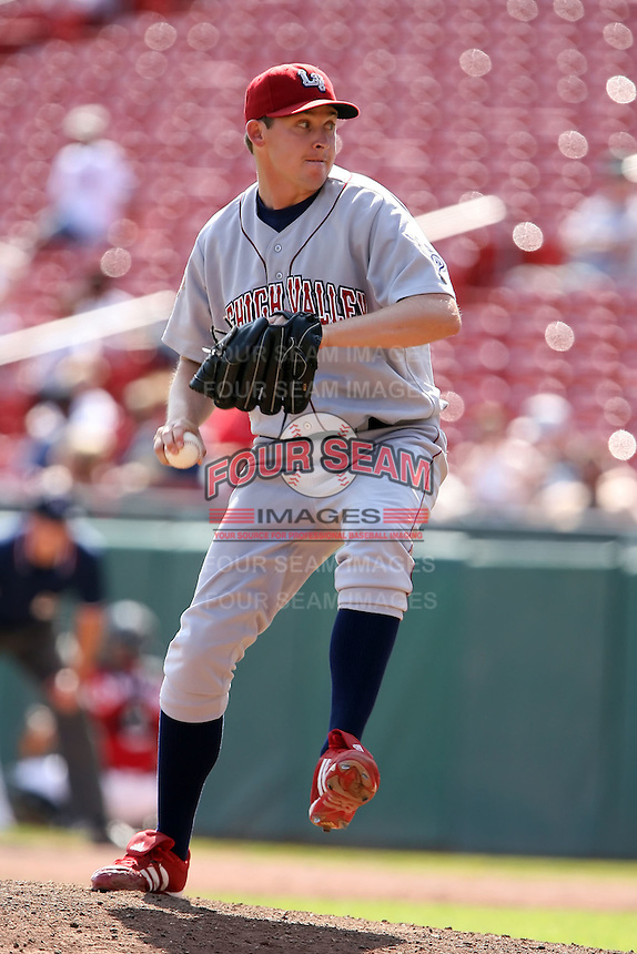 August 22 2008:  Pitcher Jason Anderson of the Lehigh Valley IronPigs, Class-AAA affiliate of the Philadelphia Phillies, during a game at Dunn Tire Park in Buffalo, NY.  Photo by:  Mike Janes/Four Seam Images
