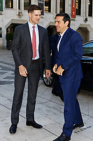 Pictured: Alexis Tsipras (R) arrives at the Guildhall, City of London, in London, UK. Tuesday 26 June 2018<br /> Re: Greek Prime Minister Alexis Tsipras is on a three day visit to London, UK.