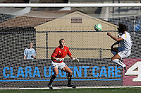 Han Duan (right) shoots the ball against Allison Whitworth (left). Los Angeles Sol defeated FC Gold Pride 2-0 at Buck Shaw Stadium in Santa Clara, California on May 24, 2009.