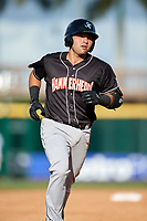 Jupiter Hammerheads first baseman Eric Gutierrez (13) runs the bases after hitting a home run the second game of a doubleheader against the Bradenton Marauders on May 27, 2018 at LECOM Park in Bradenton, Florida.  Jupiter defeated Bradenton 4-1.  (Mike Janes/Four Seam Images)