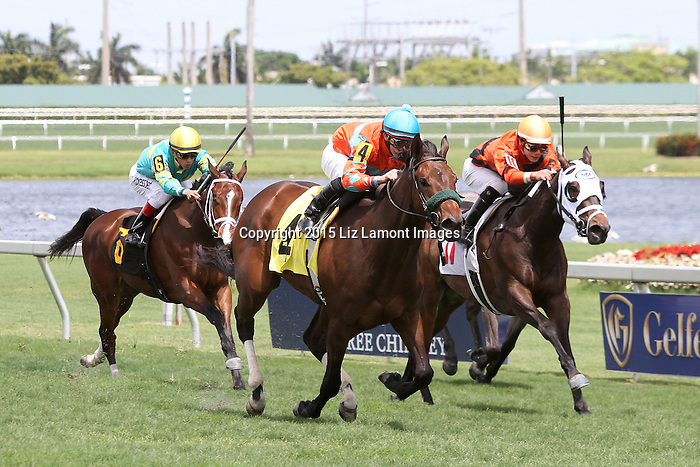 March 28, 2015:  #4 Bride to Be (KY) with jockey Irad Ortiz Jr breaks her maiden on Florida Derby Day at Gulfstream Park  in Hallandale Beach, Florida.    Liz Lamont/ESW/CSM