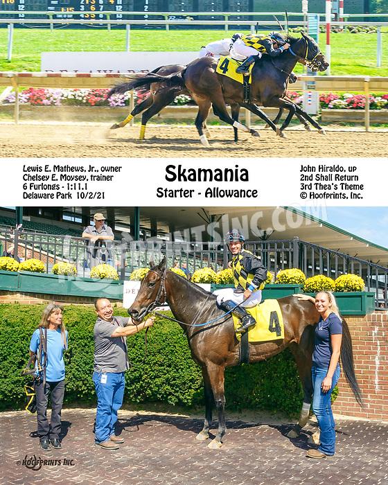 Skamania winning at Delaware Park on 10/2/21