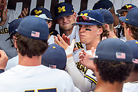 Michigan Wolverines outfielder Jesse Franklin (7) in the dugout before Game 1 of the NCAA College World Series against the Texas Tech Red Raiders on June 15, 2019 at TD Ameritrade Park in Omaha, Nebraska. Michigan defeated Texas Tech 5-3. (Andrew Woolley/Four Seam Images)