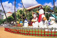 Honolulu, Oahu, Hawaii, HI, USA - Snowman Family Christmas Figures and Decorations at Honolulu Hale (City Hall)