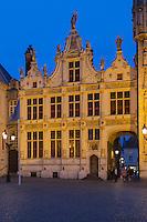Belgique, Flandre-Occidentale, Bruges, centre historique classé Patrimoine Mondial de l'UNESCO, Burg, ancien greffe civil de style Renaissance flamande du XVIe siècle   // Belgium, Western Flanders, Bruges, historical centre listed as World Heritage by UNESCO, former civilian Court Clerk of Fleminsh Renaissance Style dated 16th century