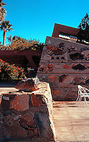 F.L. Wright: Taliesin West. West wall of drafting room.  Photo '77.