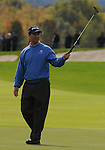 3 October 2008: Charles Warren celebrates a birdie putt during the second round at the Turning Stone Golf Championship in Verona, New York.