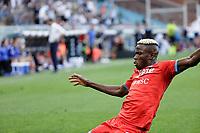 23rd September 2021; G.Ferraris Stadium, Genoa, Italy; Serie A football, Sampdoria versus Napoli : Victor Osimhen of Napoli  celebrates after scoring for 1 - 0 in 10th minute