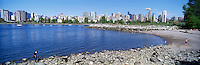 Vancouver, BC, British Columbia, Canada - City and Downtown Skyline at West End and English Bay, Summer - Vanier Park in foreground, Panoramic View