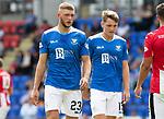 St Johnstone FC Season 2018-19…  McDiarmid Park    <br />Liam Gordon and Jason Kerr<br />Picture by Graeme Hart. <br />Copyright Perthshire Picture Agency<br />Tel: 01738 623350  Mobile: 07990 594431