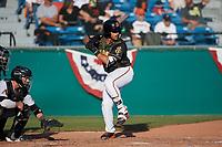 San Jose Giants third baseman David Villar (28) during a California League game against the Visalia Rawhide on April 13, 2019 at San Jose Municipal Stadium in San Jose, California. Visalia defeated San Jose 4-2. (Zachary Lucy/Four Seam Images)
