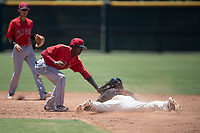 Los Angeles Angels second baseman Daniel Ozoria (23) applies the tag to Alexander Canario (14) during an Extended Spring Training game against the Giants Black at the San Francisco Giants Training Complex on May 25, 2018 in Scottsdale, Arizona. (Zachary Lucy/Four Seam Images)