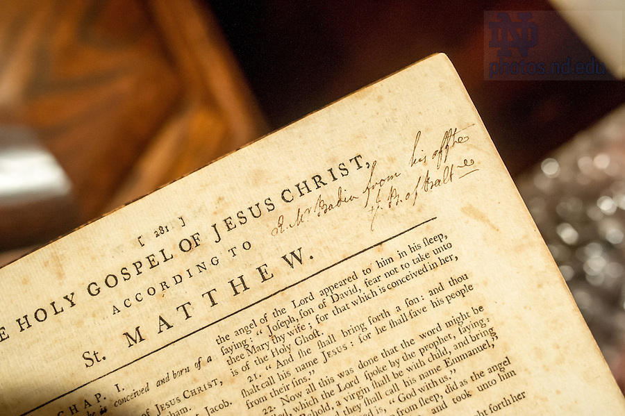"""Jul. 14, 2014; An inscription from Bishop John Carroll in a bible once owned by Rev. Stephen Badin reads: """"To Rev. Mr. Badin from his affectionate John Bishop of Baltimore.""""<br /> <br /> Photo by Matt Cashore/University of Notre Dame"""
