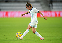 ORLANDO, FL - FEBRUARY 24: Romina Nunez #18 of Argentina passes the ball during a game between Argentina and USWNT at Exploria Stadium on February 24, 2021 in Orlando, Florida.
