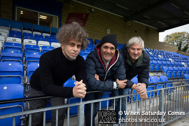Former Argentina international footballer Pedro Pasculli (centre), pictured at Nantporth Stadium, home of  Bangor City, where he was appointed  manager in October, 2019, alongside club owner Domenico Serafino (left) and technical director Max Leghissa . This was the 1986 World Cup winner's 13th management position, having previously been in charge of the Albania and Uganda national teams as well as a host of clubs worldwide. Bangor City competed in the Cymru Alliance, the second tier of Welsh football having been demoted due to financial irregularities at the end of the 2017-18 season. The club was owned by a consortium involving the Vaughan familial but was bought by Italian Domenico Serafino and a group of investors in September 2019.