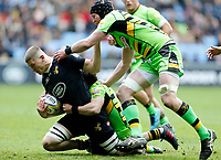 Photo: Richard Lane/Richard Lane Photography. Wasps v Northampton Saints. Aviva Premiership. 29/04/2018. Wasps' Jack Willis attacks.