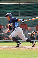Tampa Bay Rays outfielder Riccio Torrez #2 at bat during a spring training game against the Baltimore Orioles at the Buck O'Neil Complex on March 21, 2012 in Sarasota, Florida.  (Mike Janes/Four Seam Images)