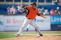Frederick Keys relief pitcher Luis Gonzalez (48) delivers a pitch during the first game of a doubleheader against the Wilmington Blue Rocks on May 14, 2017 at Daniel S. Frawley Stadium in Wilmington, Delaware.  Wilmington defeated Frederick 10-2.  (Mike Janes/Four Seam Images)