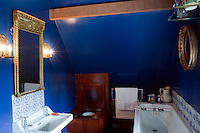 The small bathroom is painted a striking blue