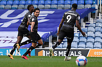 Reece James of Doncaster Rovers middle celebrates scoring the first goal during Portsmouth vs Doncaster Rovers, Sky Bet EFL League 1 Football at Fratton Park on 17th October 2020