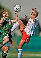 26 August 2012: University of Vermont Catamount midfielder/defender Kerry Glynn in action against Michelle Kowalski of the Fairfield University Stags at Virtue Field in Burlington, Vermont. The Stags defeated the Lady Cats 1-0. Mandatory Credit: Ed Wolfstein Photo