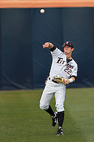 Austin Diemer #22 of the Cal State Fullerton Titans makes a throw during a game against the Loyola Marymount Lions at Goodwin Field on February 29, 2012 in Fullerton,California. Cal State Fullerton defeated LMU 6-2.(Larry Goren/Four Seam Images)