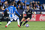 Marco Asensio Willemsen (r) of Real Madrid battles for the ball with Ruben Perez of Deportivo Leganes during their La Liga match between Deportivo Leganes and Real Madrid at the Estadio Municipal Butarque on 05 April 2017 in Madrid, Spain. Photo by Diego Gonzalez Souto / Power Sport Images