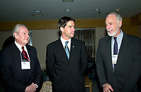 Montreal, March 28, 2001<br /> Canada Environment Minster David Anderson (right)<br /> discuss with Quebec Environment Minister Andre Boisclair (middle) and Federal deputy for Lac St-Louis and President of Honor on the opening day of America 2001 environmental trade show and exhibit in Montreal, CANADA<br /> <br /> <br /> Photo :   Pierre Roussel / AGENCE QUEBEC PRESSE