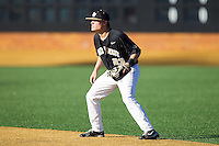 Wake Forest Demon Deacons second baseman Jimmy Redovian (23) on defense against the Missouri Tigers at Wake Forest Baseball Park on February 22, 2014 in Winston-Salem, North Carolina.  The Demon Deacons defeated the Tigers 1-0.  (Brian Westerholt/Four Seam Images)