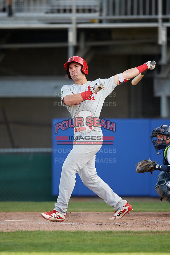Johnson City Cardinals shortstop Michael Perri (8) follows through on a swing during the first game of a doubleheader against the Princeton Rays on August 17, 2018 at Hunnicutt Field in Princeton, Virginia.  Johnson City defeated Princeton 6-4.  (Mike Janes/Four Seam Images)