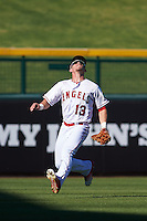 Mesa Solar Sox outfielder Caleb Adams (13) tracks a fly ball during an Arizona Fall League game against the Glendale Desert Dogs on October 14, 2015 at Sloan Park in Mesa, Arizona.  Glendale defeated Mesa 7-6.  (Mike Janes/Four Seam Images)