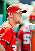 20 June 2010: Washington Nationals' rookie starting pitcher Stephen Strasburg watches from the dugout during a game against the Chicago White Sox at Nationals Park in Washington, DC. The Nationals were swept by the White Sox falling 6-3 in the last game of their 3-game interleague series. Mandatory Credit: Ed Wolfstein Photo