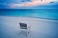 Beach chair , ocean and sunrise. Turks and Caicos. Providenciales