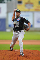 Duane Underwood #29 of the Kane County Cougars pitches against the Clinton LumberKings at Ashford University Field on July 5, 2014 in Clinton, Iowa. The Cougars won 4-0.   (Dennis Hubbard/Four Seam Images)