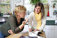 {November 7, 2009} 11:10:08 AM -- Fredericksburg, VA. -- Jody Williams, a Nobel Peace prize winner for her work in eradicating land mines, left, has pulled together a cookbook with recipes from other Nobel laureates and people who have worked for peace. She did the work in combination with her stepdaughter Emily Goose, right, as part of Emily's high school senior project.  ...Photo by Andrew B. Shurtleff.