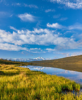 Morning sunshine on Wonder Lake, North Face of Denali,  North America's largest mountain, Denali National Park, Interior, Alaska.