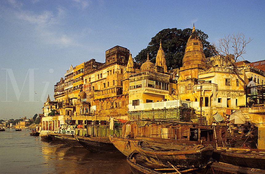 India. Ganges Ghats, Varansi, formerly Benares, Hindu holy city on the Ganges River.  One of the world's most ancient cities.