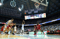 CHAPEL HILL, NC - NOVEMBER 01: Rechon Leaky Black #1 of the University of North Carolina shoots a free throw during a game between Winston-Salem State University and University of North Carolina at Dean E. Smith Center on November 01, 2019 in Chapel Hill, North Carolina.