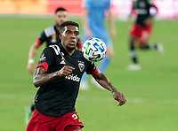 WASHINGTON, DC - SEPTEMBER 06: Donovan Pines #23 of D.C. United moves to the ball during a game between New York City FC and D.C. United at Audi Field on September 06, 2020 in Washington, DC.