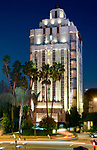 The Sunset Tower Hotel on the Sunset Strip at night in Los Angeles