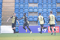Anthony Miley, Marine AFC celebrates the opening goal for the visitors during Colchester United vs Marine, Emirates FA Cup Football at the JobServe Community Stadium on 7th November 2020