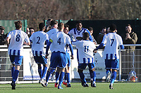 Jason Raad of Aveley is congratulated after scoring the first goal during Aveley vs Chelmsford City, Buildbase FA Trophy Football at Parkside on 8th February 2020