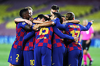 Clement Lenglet of Barcelona celebrates with team mates Nelson Semedo, Lionel Messi, Luis Suarez and Antoine Griezmann after scoring the goal of 1-0 during the Champions League round of 16 second leg football match between Barcelona and SSC Napoli at Camp Nou in Barcelona (Spain), August 8th, 2020. <br /> Photo UEFA / Press Office / Insidefoto